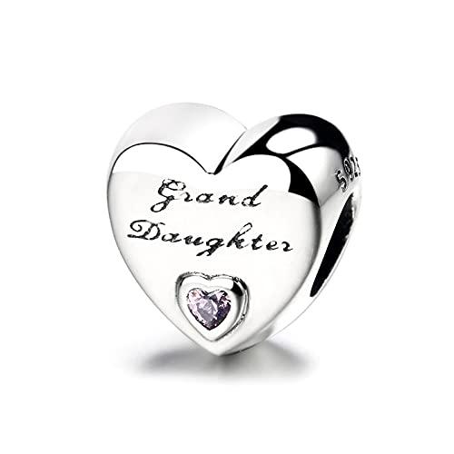 LISHOU Nieta Lindo Corazón Encanto con Cuentas S925 Pulsera De Plata Esterlina Collar De Cuentas Regalo del Día De La Madre DIY Joyería Femenina Accesorios Fabricación