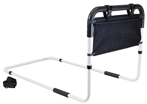 Secure EZBR-2 Adjustable Bed Assist Hand Rail With Safety Strap & Storage Pouch - Fall Prevention Grab Bar Standing Mobility Aid for Adults, Seniors, Elderly (Std Model w/Safety Strap & Storage Pouch)
