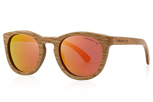 MERRY'S Polarized Full Frame Wooden Coated Floating Sunglasses Mens/Womens vintage Eyewear S5268 (Red, 48)