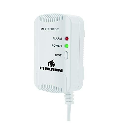 Firlarm - Detector de Gas, Alarma de Gas LPG/Gas Natural/Ciudad, Monitor de Gas butano propano de metano, Advertencia de luz estroboscópica Monitor, Sensor de Fugas de Gas enchufable (Blanco)