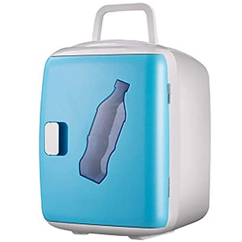 HRRF Mini Nevera, refrigerador portátil 12L refrigerante y calefacción Pequeño refrigerador silencioso Adecuado para automóvil Bar-Barra-Azul/Blanco