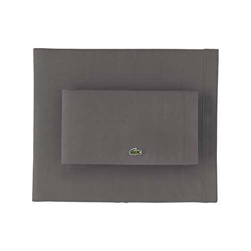 Lacoste 100% Cotton Percale Sheet Set, Solid, Dark Grey, Full
