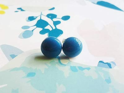 Scandinavian ceramic stud earrings, dark green, light green or blue, repurposed jewelry, up cycled parts, Selma Dreams