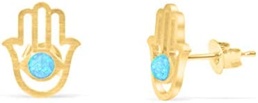 ONDAISY 14k Gold Plated Round Lab Synthetic Simulated Created Blue Opal Bead Bridal Evil Eye product image