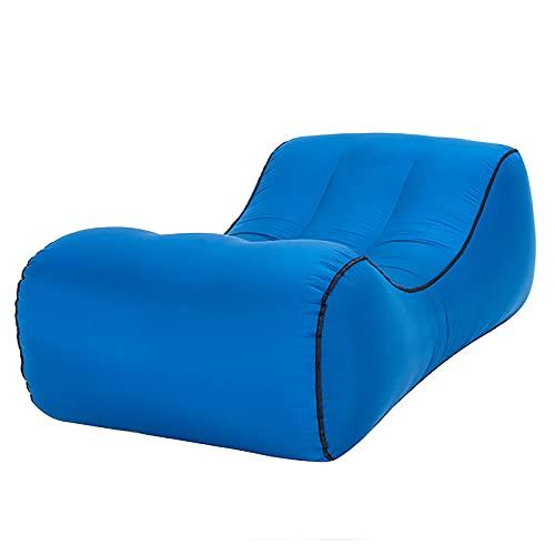 FKRAINSAN Divano Letto Pigro Gonfiabile all'aperto, reclinabile Portatile Impermeabile da Spiaggia, comprimibile Leggero e Confortevole,Navy Blue,145/70/40cm