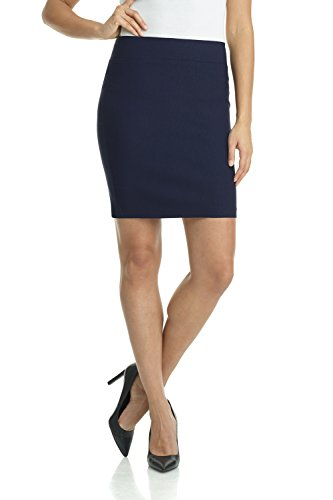 Rekucci Women's Ease Into Comfort Above The Knee Stretch Pencil Skirt 19 inch (Large,Navy)