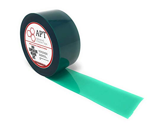 "APT,2 Mil Polyester Tape with Silicone Adhesive, PET Tape, high Temperature Tape, 3.5 mil Thickness, Powder Coating, E-Coating (2"" x 72Yds (1 Roll), Green)"