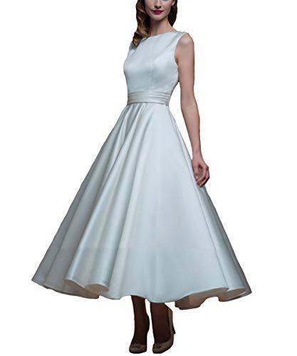 LuckyShe Damen Vintage Satin Brautkleider Hochzeitskleider Wadenlang Ärmellos Weiß Grosse Grössen 52