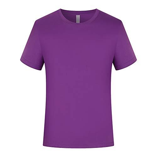 Hombre Camiseta De Manga Corta Color Sólido Casual Tops Algodón 100% Holgada con Cuello Redondo - Patrones Personalizables(S-L) (Color : F, Size : S)
