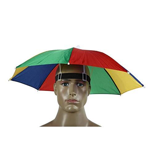 Xcwsmdq Umbrella Outdoor Umbrella Hat Novelty Foldable Sun Day Rainy Day Hands Free Rainbow Folding Waterproof Multicolor Hat Cap Rain gear (Color : 55cm)