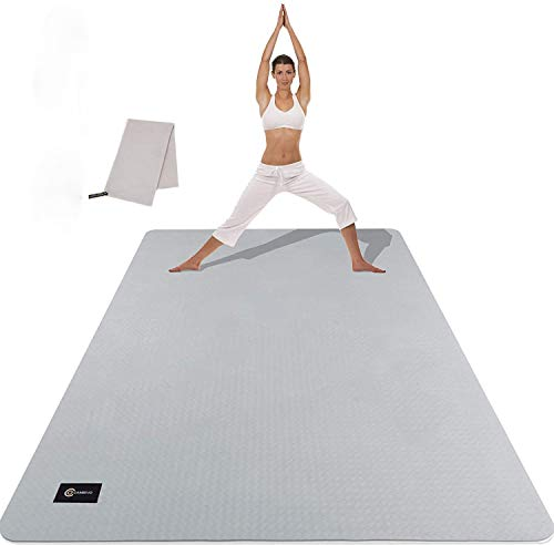 CAMBIVO Large Yoga Mat (6' x 4' x 6mm), Extra Wide TPE Mat for Men and Women, Exercise Fitness Mat for Home Gym, Yoga, Pilates, Workout (Gray)