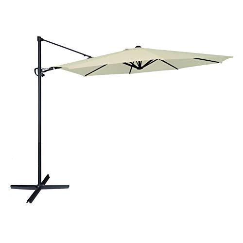 AKTIVE Garden 53893 Parasol excéntrico Roma, diámetro 300 cm, crema mástil aluminio