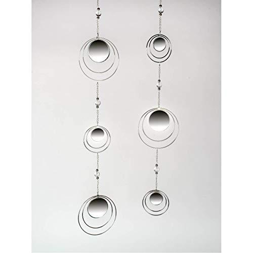 formano 2er Set Deko Hänger, Girlanden Spiegel Kreise L. 84cm Metall + Glas