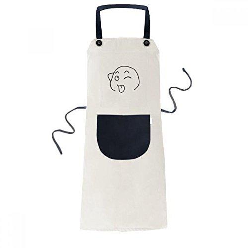 DIYthinker Avental Stick Tongue Out Black Happy Pattern Bib ajustável algodão linho churrasco cozinha bolso Pinafore
