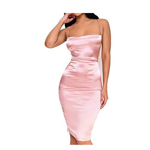 N\P Vestido de verano para mujer, de satén sin mangas, con tirantes ajustables, vestido ajustado