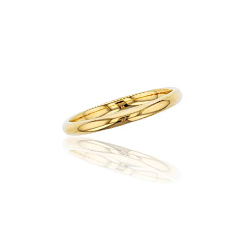 Decadence - Alianza de boda de oro amarillo de 14 quilates, 2 mm, pulido liso, talla 4