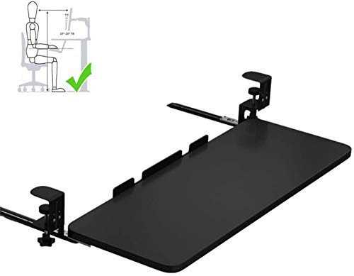 Cajones para teclado ajustables, bandeja para teclado debajo del escritorio, extensor de estante debajo del escritorio con guías deslizantes con rodamiento de bolas y sistema de montaje de abrazader