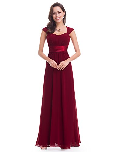 Ever-Pretty Damen Einfach Elegant Abendkleider Brautjungfernkleid 38 Weinrot