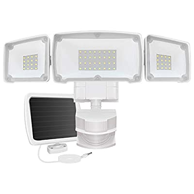 AOBISI Solar Motion Sensor Lights Outdoor, 1600LM 6000K IP65 Waterproof Outdoor Flood Security Lighting 3 Adjustable Heads for Entryways, Patio, Yard (White)