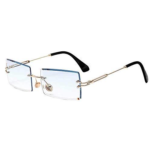 Dollger Vintage Randlose Sonnenbrille für Damen Herren Mode Retro Rechteck Brille UV400 Schutz Blau