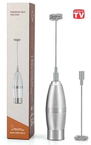 As Seen on TV Handheld Electric Milk Frother, Automatic Foam Maker for Coffee, Macchiato, Lattes, Hot Chocolate, Tea Whisking, Protein Powder Beverage Mixer, Gift for Coffee, Milk Lovers 19000RPM