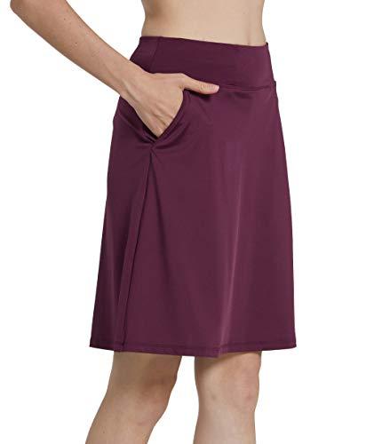 Westkun Mujer Falda Corta hasta la Rodilla de Golf Corriendo Tenis Skort Casual Pantalón Ropa Padel Corta de Modesta Deportivas(Borgoña,M)