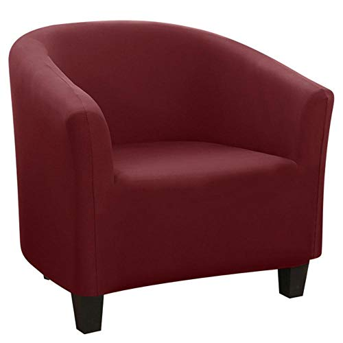 GFFGA New Spandex Elastic Tub Chair Covers Solid Color Leisure Stretch Bathtub Armchair Seat Cover Protector Washable Slipcover#5,A-wine red,United States