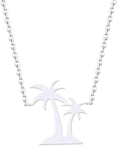 BACKZY MXJP Collar Hawaii Beach Jewelry Doble Palmera Collares Colgantes Collar De Coco De Acero Inoxidable Mujeres