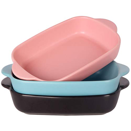 Monamour 20oz Individual Baking Dishes – 7.5'' x 5.6'' Small Matte Ceramic Rectangular Bakeware Pan Set with Handles for Casserole, Lasagna, Chicken, Vegetable, Brownies - Set of 3 (Mix Colors 01)