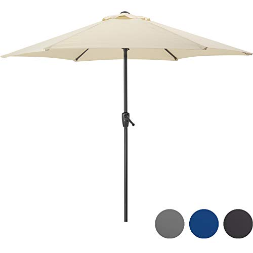 CHRISTOW Garden Parasol Umbrella 2.7m With Crank Handle, Compact Sun Shade For Small Outdoor Patio Spaces, Steel Pole, Grey, Navy