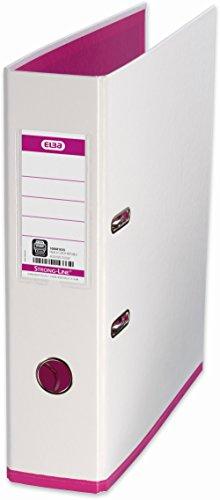 ELBA 100081031 Ordner myColour Kunststoffbezug außen und innen 8 cm breit DIN A4 zweifarbig weiß und pink, 1 Stück