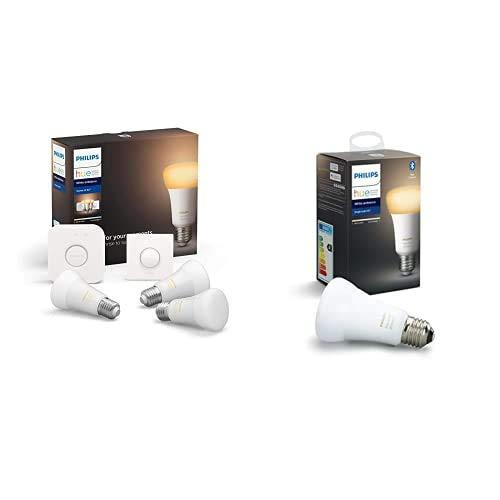 Philips Hue White Ambiance Pack de 3 Bombillas LED inteligentes E27, puente de conexión y Smart Button, luz blanca de cálida a fría + Philips Hue White Ambiance Bombilla LED inteligente E27