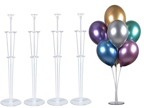 """PILIN 28 """"Altezza Supporto per Palloncini da Tavolo per Decorazioni per Feste di Compleanno e Decorazioni di Nozze, Decorazioni per Palloncini di Buon Compleanno per Feste e Natale (4 Pack)"""