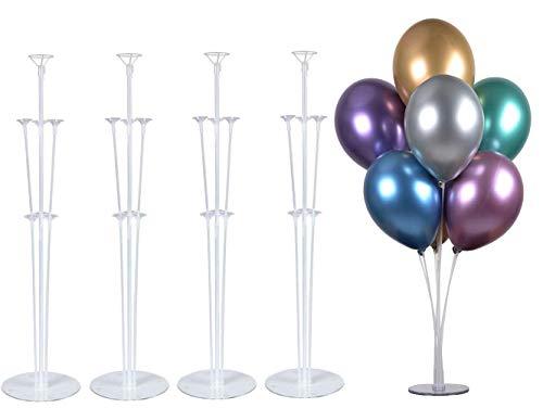 """PILIN Kit de Soporte de Globos de Mesa de 28 """"de Altura para Decoraciones de Fiestas de cumpleaños y Decoraciones de Bodas, Decoraciones de Globos de Feliz cumpleaños para Fiestas y Navidad (4 Pack)"""
