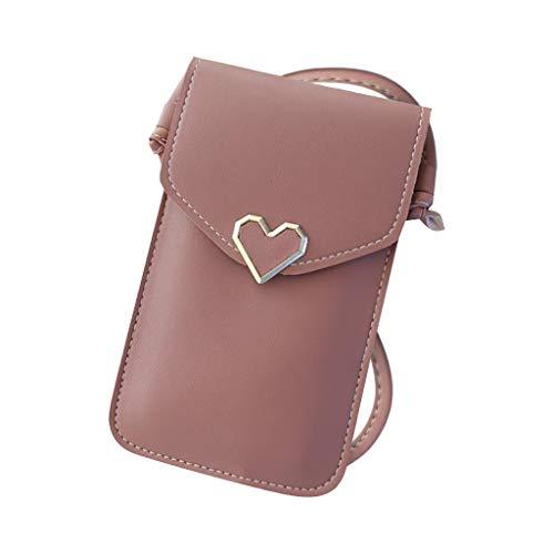 Universal Handyhülle Wasserdich Handy Umhängetasche, 2 in 1 Handtasche Schutzhülle Handy Tasche PU Leder Touchscreen Funktion Leder Mobile Bag Protective Case Handy Tasche (Wein)