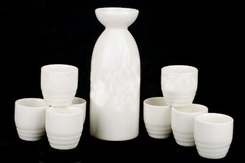 M.V. Trading 7103669S8 Party Size White Sake Set - 1- Bottle (14 Ounces) | 8- Cups(1.8 Ounces), Set of 9 Pieces