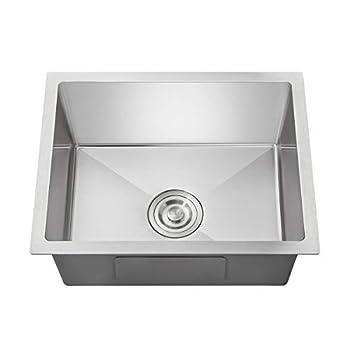 OUGOO 22x 18 inch Kitchen Sink Drop-in Tight Radius 18 Gauge Stainless Steel Undermount Handmade Kitchen Sink Single Bowl