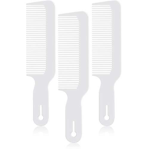 3 Paquetes de Peines de Peluquero Peine de Podadora Plano Superior Peines de Corte de Cabello Ideal para Cortadoras y Flattops (Blanco)