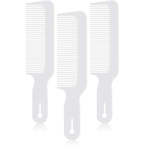 3 Pack Barber Combs Clipper Comb Flat Top Clipper Comb Hair Cutting Combs Great for Clipper-cuts and Flattops (White)