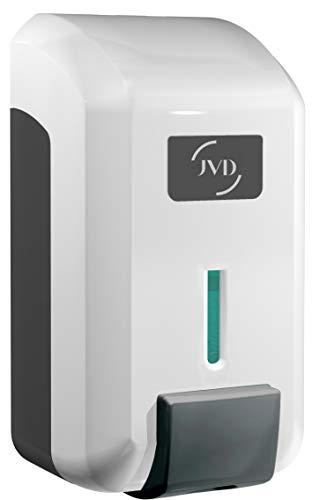 JVD Distributeur manuel de Savon Liquide Mousse ou Lotion hydroalcoolique Bouton poussoir 700 ml Blanc