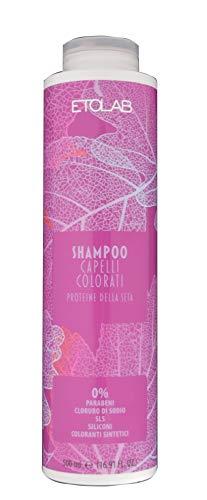Etolab - Champú para cabello teñido con semillas de lino, proteínas de seda y aceite de macadamia (2x500 ml)