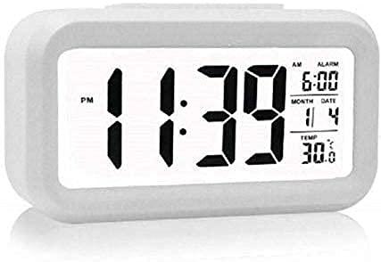 CBK Night Light Alarm Clock with Digital Display Date Time Temperature and Night Light Sensor ( Multi Color)