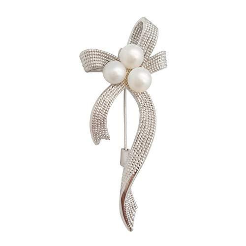ELAINZ HEART La Nastro Perle spilla e perni gioiello in argento placcati da donna con perline 5pcs-6mm, perla bianca coltivata d'acqua dolce