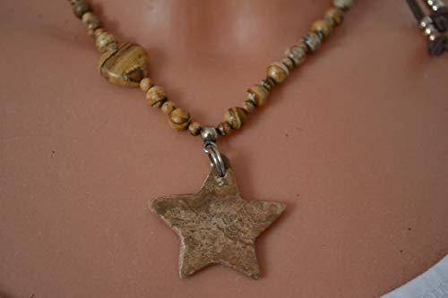Leder-Kette in braun mit Naturstein-Perlen und Stern Unikat