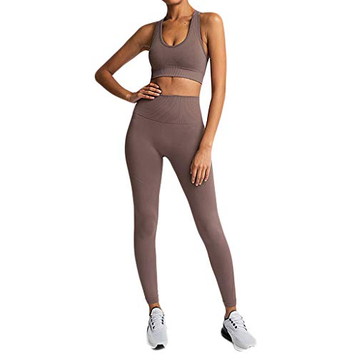 LUDAY Workout Set Women Training Tracksuits Exercise Clothing 2 Piece Fitness Yoga Outfits Workout Gear Coffee