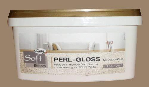 Fantasy Soft Effects 1 L. Perl-Gloss Metallic Gold, seidig schimmernder Glanzüberzug zur Veredelung von Relief Weiss
