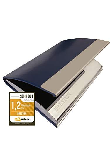 BRESTON - Estuche para tarjetas de visita I Bordes redondeados, fino y extremadamente alta calidad I Soporte para tarjetas de visita de acero inoxidable y piel sintética I Tarjetero (MILO)