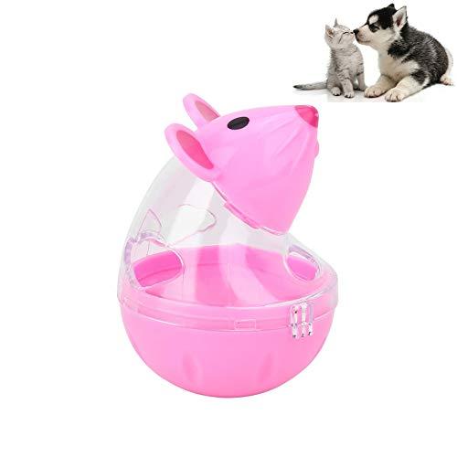 Hond Behandel Speelgoed, Muizen Tumbler IQ Behandel Bal Kat Langzame Voeding Voedsel Dispenser Huisdier Voedsel Bal Behandel Bal Lekken Voedsel Speelgoed voor Puppy en Kleine Medium Honden, roze