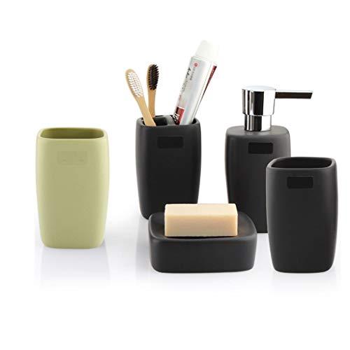 Dispensador de Jabón Set de accesorios de baño de 5 piezas El conjunto de apariencia mate de cerámica incluye: Dispensador de loción Jabonera for porta cepillos de dientes y 2 tazas de enjuague Dispen