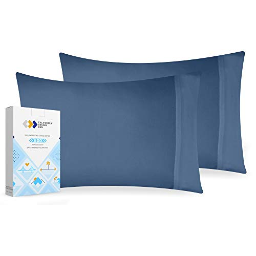 Soft Silky Fresh Navy Blue Cotton Pillowcases - Standard Size 2 Piece Solid Sateen Weave Durable Pillow Cover, 500 Thread Count Luxury Finish Pillowcase Set